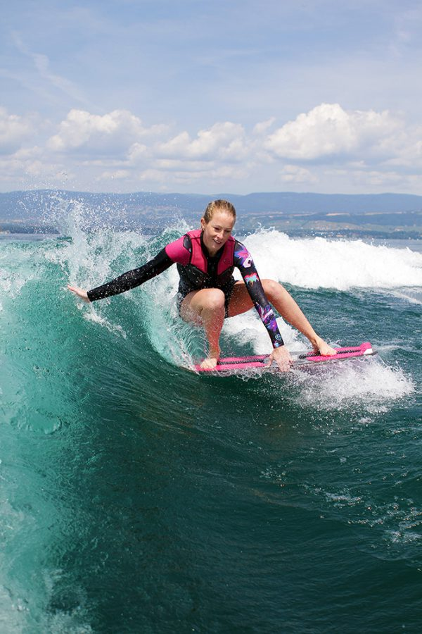 drifetr grab jennifer edwards stiletto skim wakesurf board